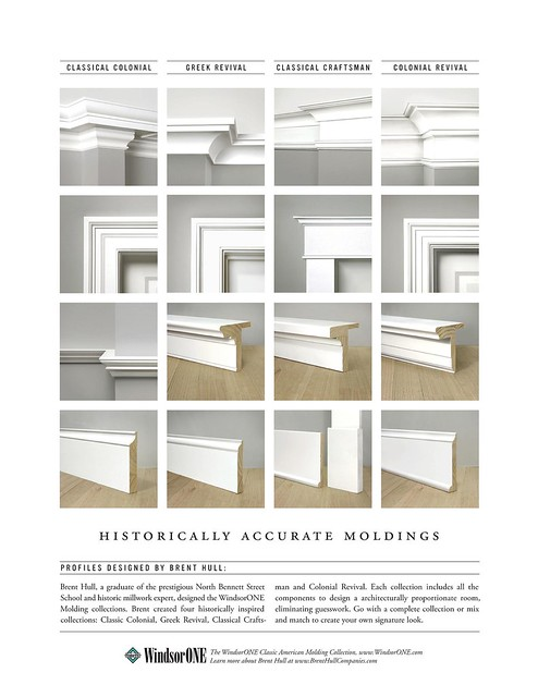 Four historically accurate molding styles, compared side ...