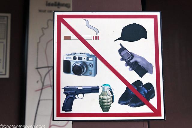 Items not allowed inside the Choeung Ek museum