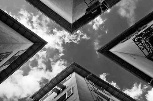 [フリー画像素材] 建築物・町並み, 空, 風景 - フランス, モノクロ ID:201204151200