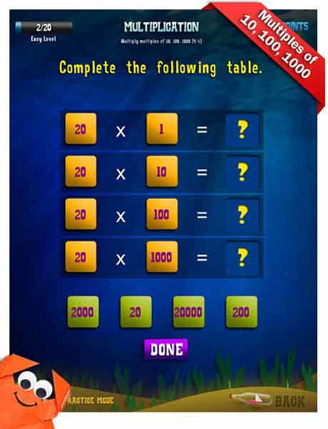 Grade 3 Math App - multiplication