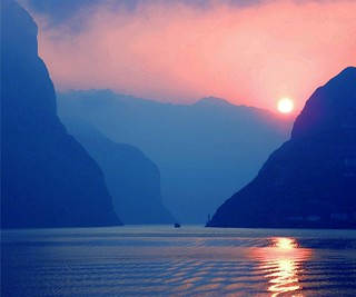 Sunset on the Yangtze River in China