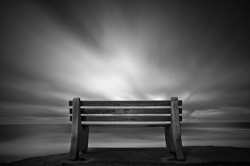 ocean california longexposure sea bw beach water clouds sunrise canon bench sandiego lajolla californiacoast ndfilter 1635mmf28l 10stopndfilter mshaw 5dmark2 canoneos5dmarkll bigstopper