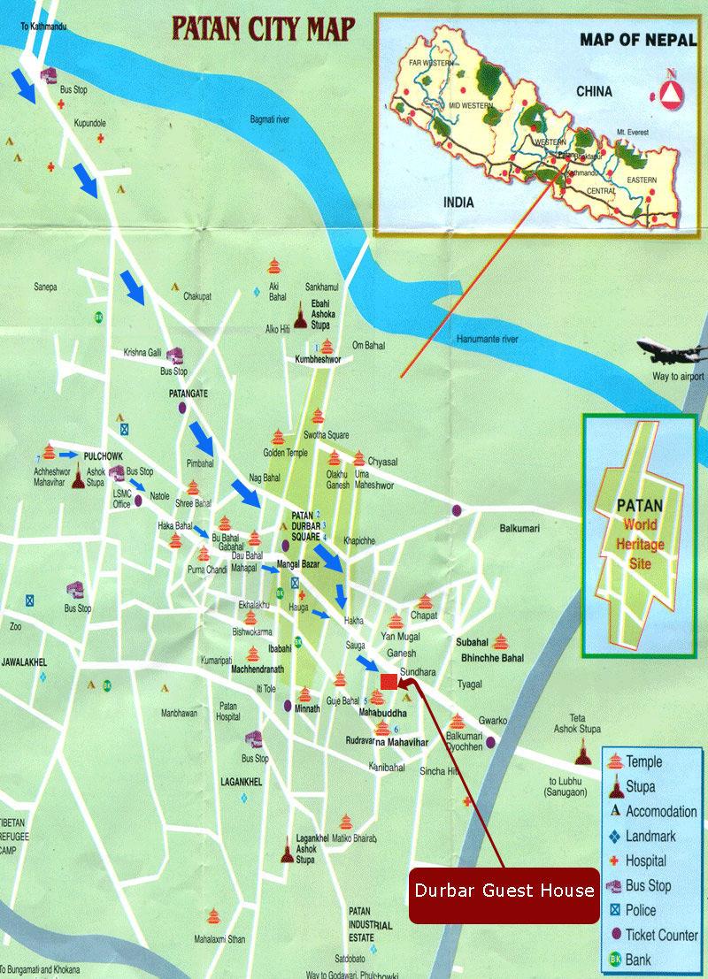 Mapa de Patan, Nepal