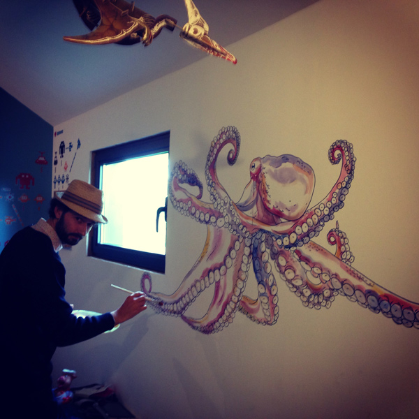 giant octopus wallpainting