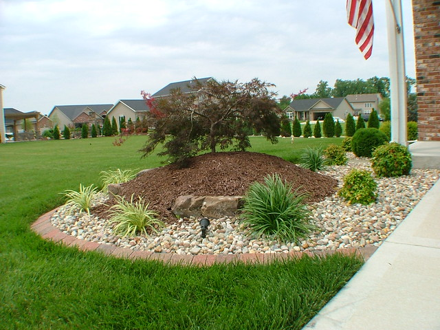 Front corner tree mulch shrubs and lighting landscape flickr photo sharing - Simple garden landscaping ideas ...