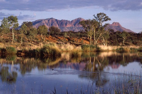 reflection nature landscape outback northernterritory alicesprings centralaustralia macdonnellranges finkeriver mountsonder