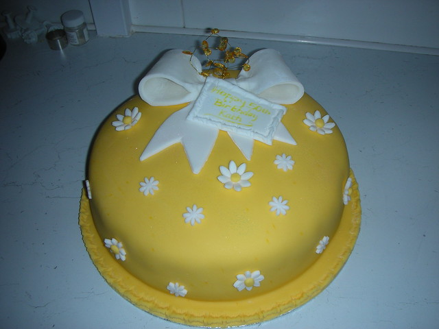 50th Birthday Cake Yellow and White   Flickr - Photo Sharing!