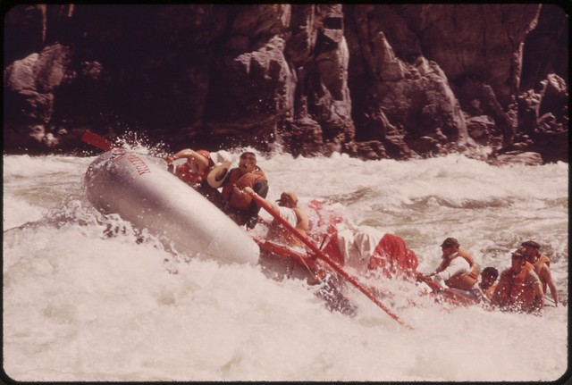 DOCUMERICA: SHOOTING WILD SHEEP RAPIDS ON THE SNAKE RIVER IN HELLS CANYON. RAPIDS LIKE THIS OFFER ADVENTURE AND CHALLENGE TO THE GROWING NUMBER OF PEOPLE WHO RAFT OR KAYAK ON THIS SPECTACULAR STRETCH OF THE SNAKE, 05/1973 Boyd Norton