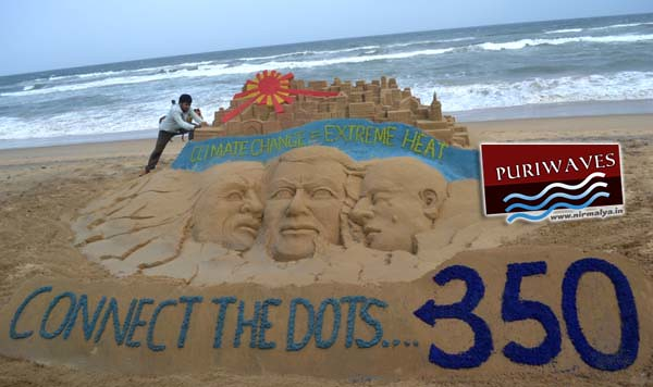 Sand artist Sudarsan Pattnaik joins hands with 350.org for Climate Impacts day