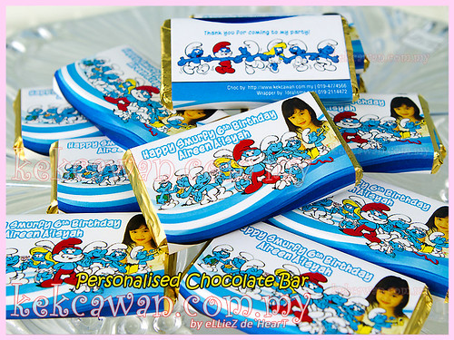 Personalised Choc Bar - Smurf Theme