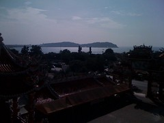 Khao Sam Muk, the moutain of monkeys, from the roof of the Chinese temple