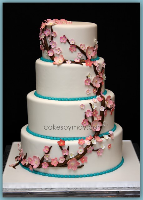 Cherry Blossoms Wedding CAke All flowers made of gumpaste