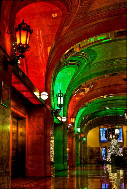 Chicago City Hall in Christmas red and green lights is like the North Pole.