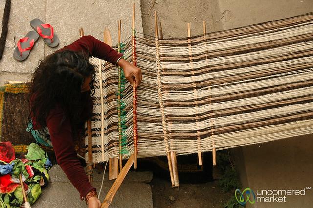 Weaving a Blanket - Annapurna Circuit, Nepal