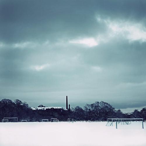 winter snow clouds landscape denmark vinter goals footballfield danmark chimneys 2010 soccerfield kolding mål fodboldbane fodboldmål canoneos5dmrkii koldingstadion træningsbane