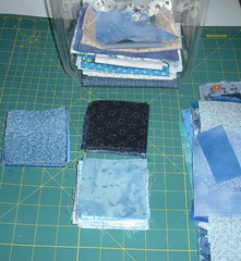 ironing, folding and cutting 144 squares