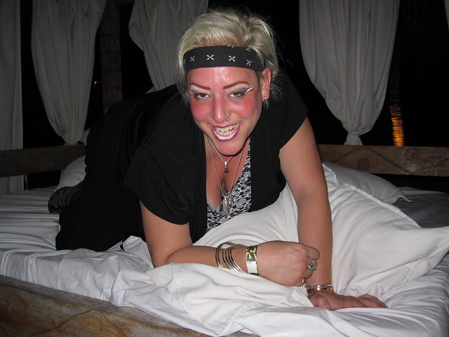 R. Sky Palkowitz The Delusional Diva in outdoor bed at Nikki Beach Miami