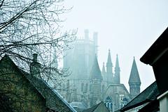 Church and fog.