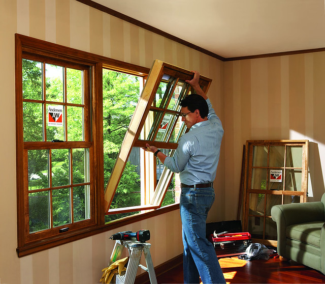 Andersen 400 series woodwright double hung insert windows for Wood double hung andersen 400 series