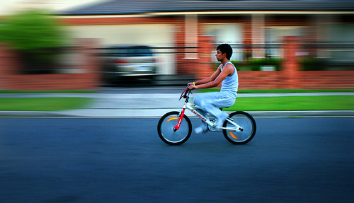 A Boy Cycling