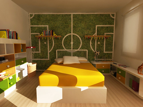 Diseño de Habitacion infantil tematica deportiva ...