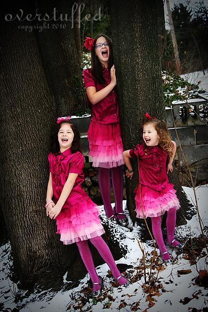 Family Christmas tradition ideas — matching Christmas dresses.