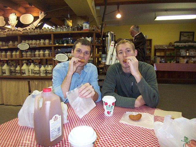 ian and brett with cider donuts