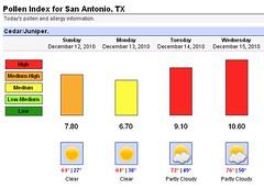 cedar pollen forecast | Oo    Look what's headed our way, Sa