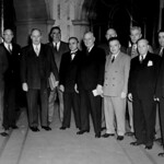 David Dubinsky, George Meany, William Green, and other attendees at the International Confederation of Free Trade Unions conference, November 1949