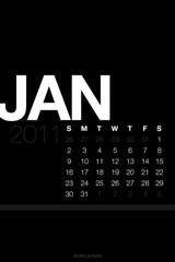 January Lock Screen Calendar Wallpaper Black [iOS 4 Retina Display]