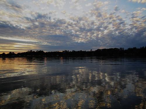 sunset usa lake reflection woodlands texas
