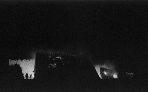 Temple burn b&w /// ////