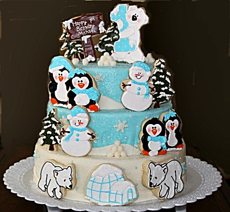 Penguin Family/Winter Theme Cookie Cake