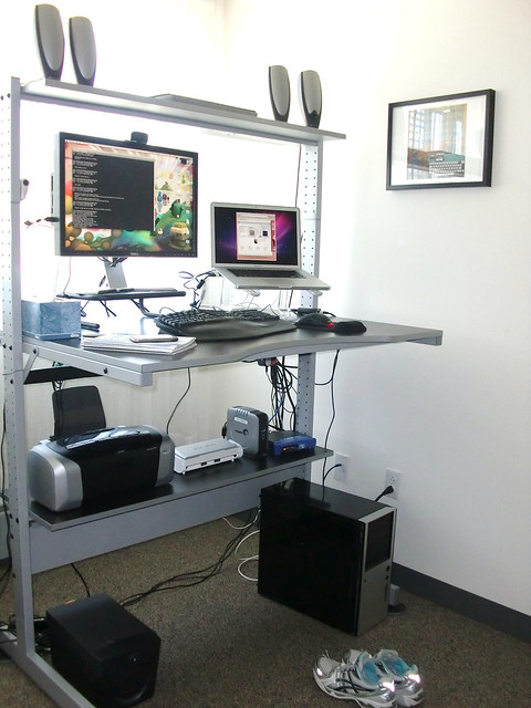 If You Donu0027t Have A Desk That You Can Assemble To Standing Height, You Can  Always Create A Temporary Standing Desk By Putting Shelves On Your Current  Desk.
