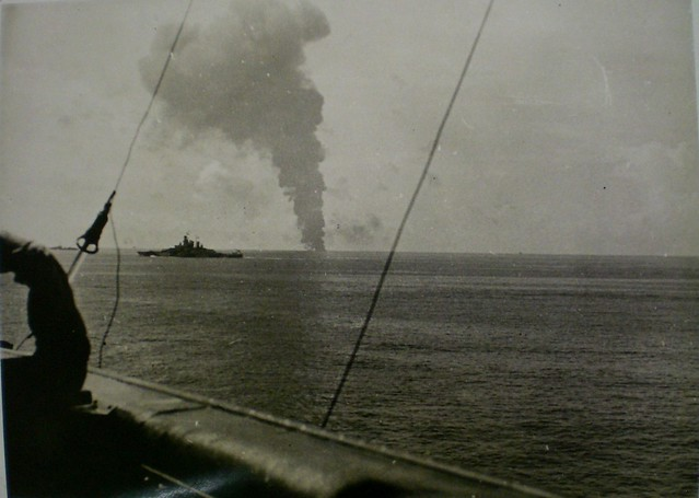 THE PACIFIC WAR : Oct 24, 1944 - USS PRINCETON goes down over the horizon. Collection of Alan Meade, RAN 1943-1946.