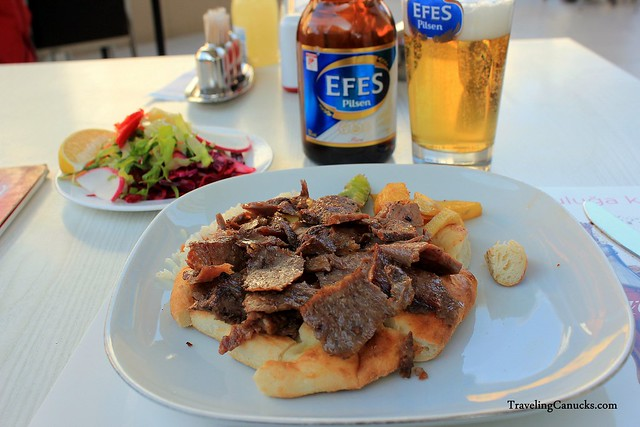 Turkish Lunch - Doner Kebab with Efes