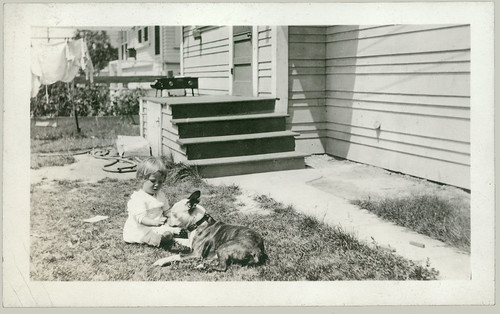 Gladys and Blame, the dog.