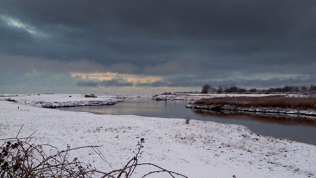 Snow on the banks of the River Brue