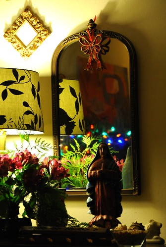 Our Lady of Guadalupe, Protectoress of the Americas, Christmas decor, flowers, cedar, holy cow, shells, incensor, lamp frame, mirror, Wedgwood, Seattle, Washington, USA by Wonderlane