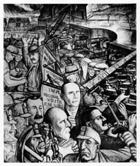 Panel from Diego Rivera's mural at Unity House, depicting class struggle and labor conflict in industry.