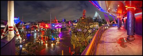 panorama night lights neon disneyland disney nik tomorrowland hdr topaz canonefs1022mm photomatix canoneos7d