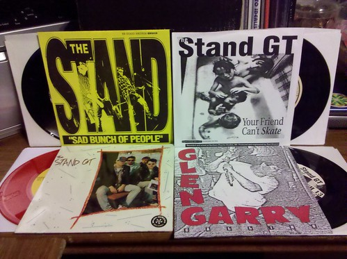 "4 more Stand GT 7""s - Sad Bunch, Split w/ Beautiful, Split w/ Potbelly, Glengary Comp. More thanks to @chrispager"