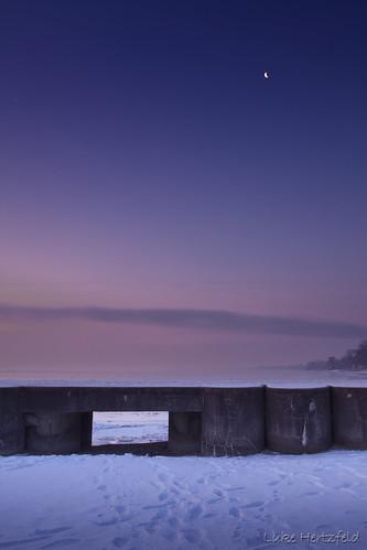 moon snow ice water clouds sunrise pier glow lakeerie lunapiermichigan