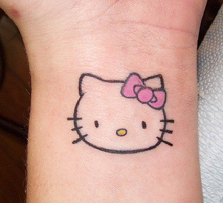 Hello Kitty Outline Tattoo