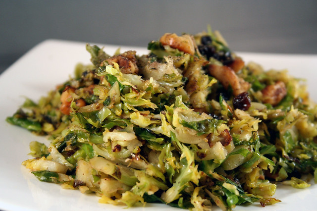 sauteed brussels sprouts with toasted walnuts and dried currants 1