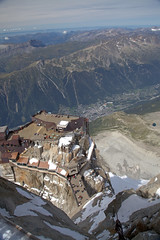 View from l'Aiguille down to Chamonix