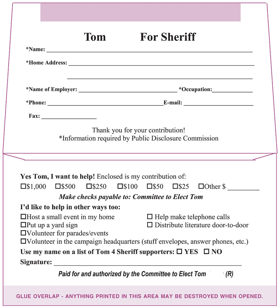 Political Donation Envelope for Sheriff Reelection (Inside) - a ...