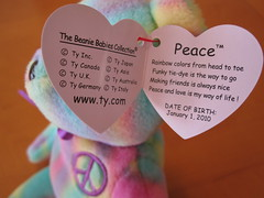Ty Peace 2 Beanie Baby Bear Hang Tag  c435920e1e68