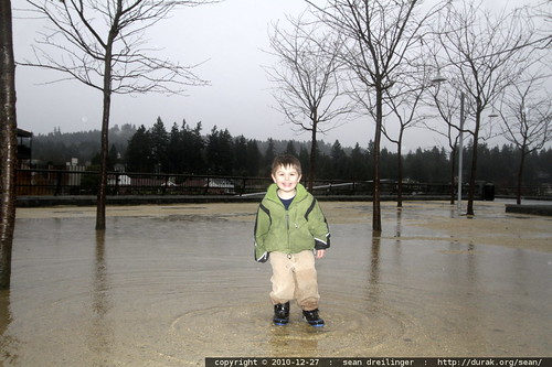 successfully testing the waterproof boots in a BIG puddle