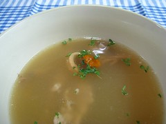 cream of mushroom soup(0.0), produce(0.0), vegetable(1.0), consommã©(1.0), food(1.0), leek soup(1.0), dish(1.0), broth(1.0), soup(1.0), cuisine(1.0),